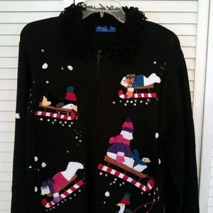 Vintage Christmas Sweater Zip Cardigan XL Black